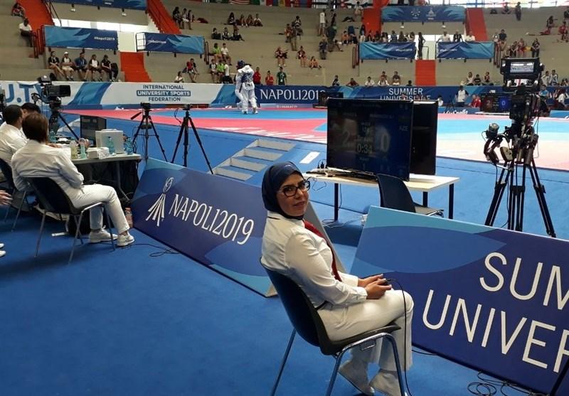 یونیورسیاد 2019 ایتالیا، قضاوت بانوی ایرانی در مسابقات تکواندو + عکس